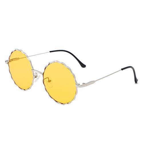 DIYOO Sonnenbrille Frauen Männer Retro Vintage Sonnenbrille Runde Sonnenbrille Klassische Spiegel Objektiv Gläser Blume Sonnenbrille gelb