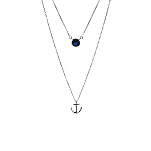 OUTLANDER INSPIRED ANCHOR SILVER DOUBLE PENDANT WITH SAPPHIRE COLOUR STONE