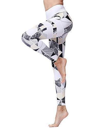 FLYILY Frauen Yoga Pants Gedruckt hohe Taillen-Power Flex Capris Workout Gamaschen für Fitness Laufen(Geometry,S) -
