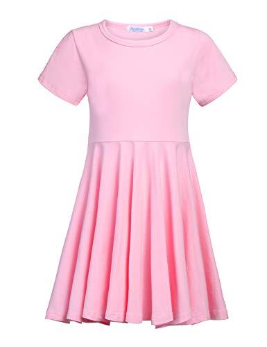 Rosa Mädchen T-shirt (Kleid Mädchen Sommer A-Linie Kurzarm Baumwolle T-Shirt Kleider Freizeitkleidung Gr. 110-150)