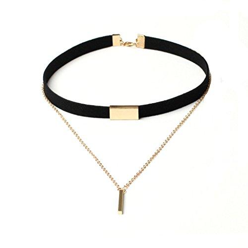 Bishilin Samt Choker Damen Halskette Halsband Zylinder Anhänger Schwarz Gold Tattoo Halskette Length 78+7CM