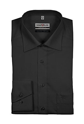 Michaelax-Fashion-Trade - Chemise business - Uni - Col Chemise Italien - Manches Longues - Homme Schwarz (68)