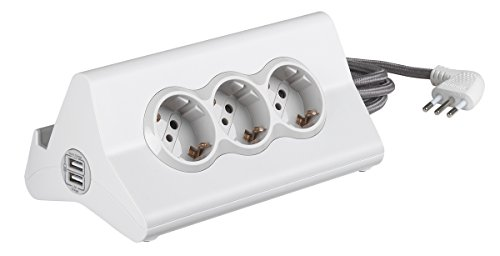 BTicino S3713DBU Multipresa da Scrivania con Spina 10 A, 3 P 30, 2 Prese USB, Interruttore, 2 m, Bianco
