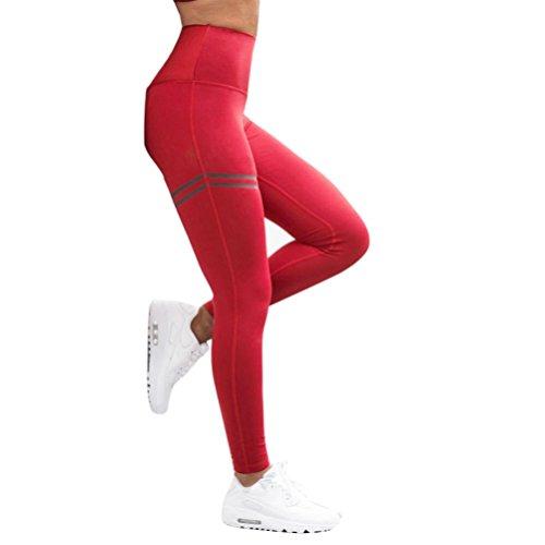 Streifen Gedruckt Leggings Damen, DoraMe Frauen Hoch Taille Yoga Hosen Fitness Sport Leggings Stretch Hosen Lauf Gym Elastische Leggings (Rot, Asien Größe M) (Stretch Elastische Taille Leggings)