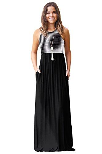 Damen Sommerkleid Kleider Maxikleid Streifen Ärmellos Bodenlanges Lang Kleid High Waist Partykleid mit Taschen Schwarz S