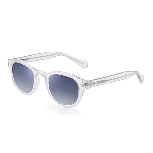 JIM HALO Vintage Runden Polarisiert Sonnenbrille Für Damen Acetat Rahmen UV400(Klar Rahmen/Gradient Graue Linse) (Blau Polarisierten Sonnenbrillen)