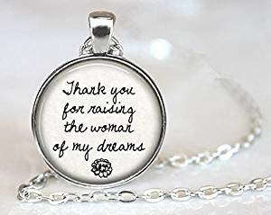 Halskette mit Anhänger für Mutter der Braut oder Bräutigam, Aufschrift