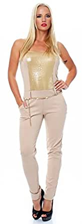 10688 Fashion4Young Damen Overall Hosenanzug Party Overall Pailletten Glitzer Silvester Jumpsuit (34/36, Beige)