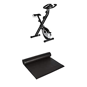 Ultrasport F-Bike Heavy, Fahrradtrainer, Heimtrainer + Fitness Multifunktionsmatte, Matte für Fitnessgeräte als Bodenschutzmatte für Crosstrainer