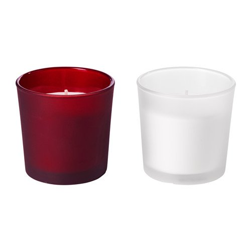 IKEA VINTER 2015vela aromática en portavelas de cristal, Jam Cookies rojo, blanco rojo juego de 2