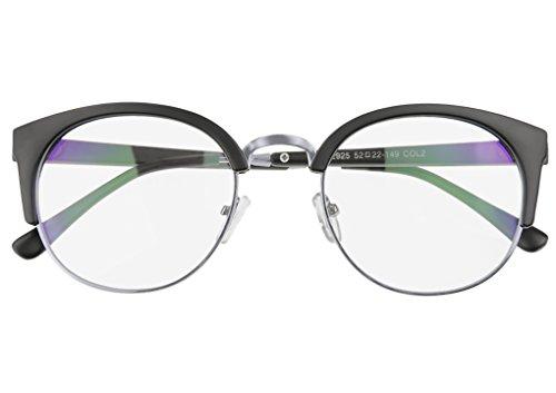 Retro Nerd Brille Runde Halbrahmen Hornbrille Damen Herren Computer Brille Sonnenbrillen...