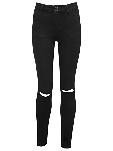 M&Co Teen Girl Plain Black Cotton Stretch Ripped Knee High Rise Skinny Fit Jeans