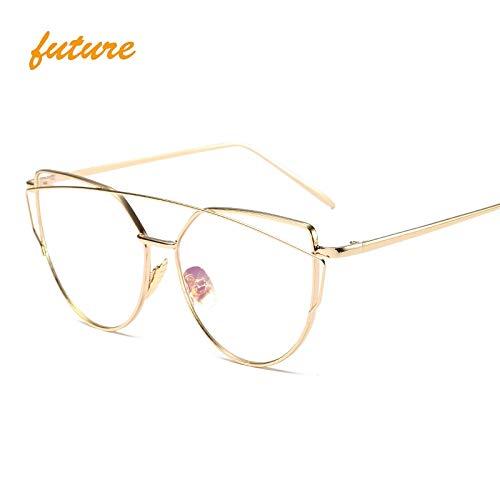 Onizah - Cat Eye vintage Brand designer rose gold mirror Sunglasses For Women Metal Reflective flat lens Sun Glasses Female oculos[Gold Clear]