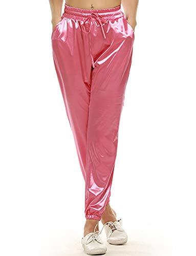 VWIWV Damen Jogginghose mit Kordelzug Taille Satin Jogger Casual Sport Sweatpants mit Taschen - Pink - (40 DE/42 DE) Large