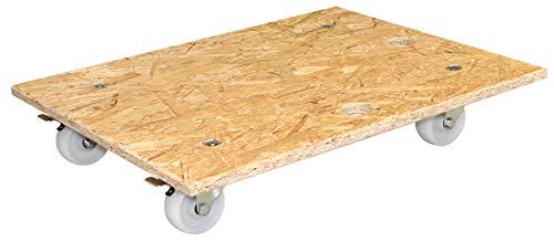 WAGNER Transporthilfe - OSB BIG - OSB Platte/Grobspanplatte 18 mm, 49 x 59 x 11 cm, Ergo-Tragegriff, Lenkrollen 75 mm, 2 Feststeller, Tragkraft 250 kg - 20117201