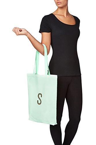 next Donna Shopper Di Tela Con Iniziale Menta Verde