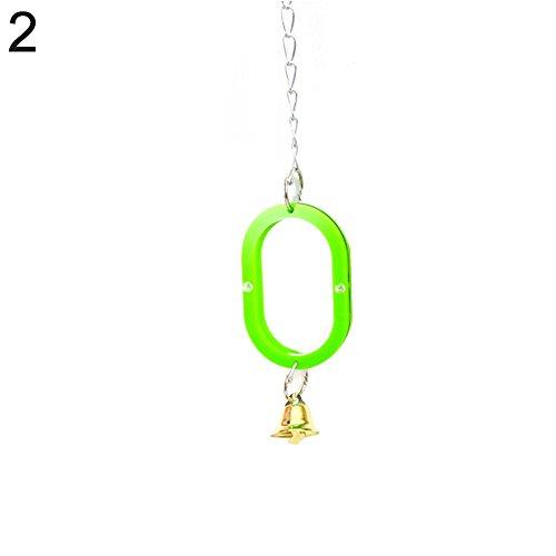 Monterey Kunststoff Vogel Spielzeug Spiegel Stand Plattform Werkzeug für Papageien Cockatiel Kette Glocke - 3 Farben -