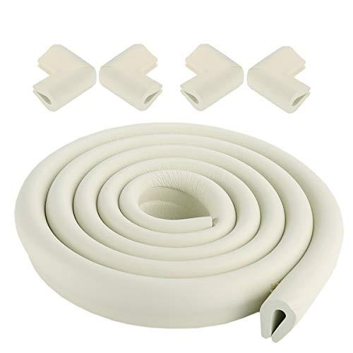 X-loves 2 mètres U-Shape protecteur de bord et 4 x jeu de gardes d'angle, facile à installer, prime haute densité mousse bébé outil ménager de protection pour table, banc et autres meubles de maison - Blanc