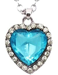 Angelfish Titanic Inspired Blue Sapphire Heart Alloy, Crystal Pendant