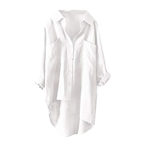 HWTOP Damen Oberteil Langarm Hemd Chiffon Bluse Arbeitshemd Business Stehkragen V-Ausschnitt Einfarbig Lose Freizeithemd Tops Elegant Sexy Lang T-Shirt Kurzer Kleider (L, Weiß)