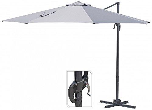 Unbekannt Ampelschirm 280cm FC3300120 Sonnenschirm Schirm Gartenschirm Kurbelschirm (Hellgrau)