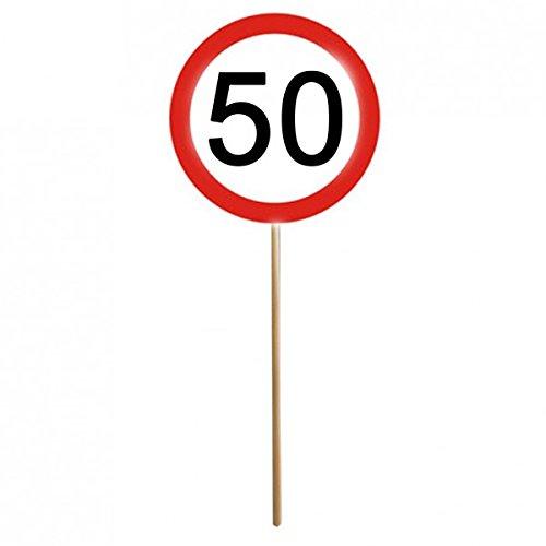 Lot de 12 panneaux 50e anniversaire Mini panneaux de signalisation avec baguette Décoration