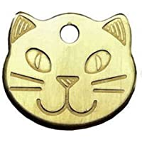 County Engraving Personalised Solid Brass, Durable Cat Head Pet ID Tag Disc (ENGRAVED FREE)