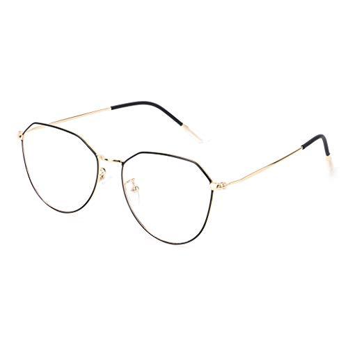 Exing Optische Gläser Brillen Retro geometrische unregelmäßige Rahmen Klare Linse Brille (Gold+Schwarz)