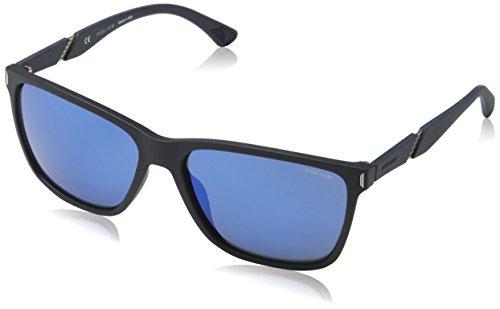 Police Sunglasses Herren Sonnenbrille Speed 10, Blau (Rubberized Full Blue), 44