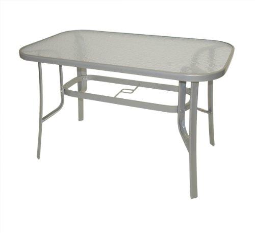 Glas-tischplatte Quadratische (Gartentisch Florenz 70x120cm aus Metall + Glas, silberfarben)