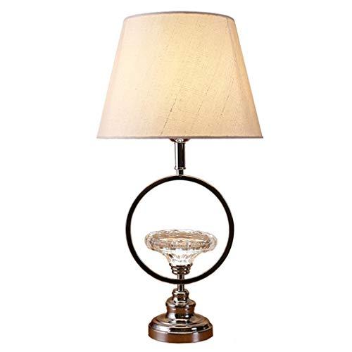 Erleuchtung Nordic Minimalist Nachttischlampe Stoff Lampenschirm Schlafzimmer Lichter Kreative Kristall Schlafzimmer Wohnzimmer Nachttischlampe Tischlampe ( Color : Push button , Größe : 22.5X11.9'' ) - Push-button-satin