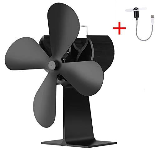 Mini-4s-fan (Exing Stove Fan 4s Stromloser Ventilator für Kamin Holzöfen Öfen,Beinhaltet: 1 x Herdventilator + 1 x USB-Mini-Lüfter)