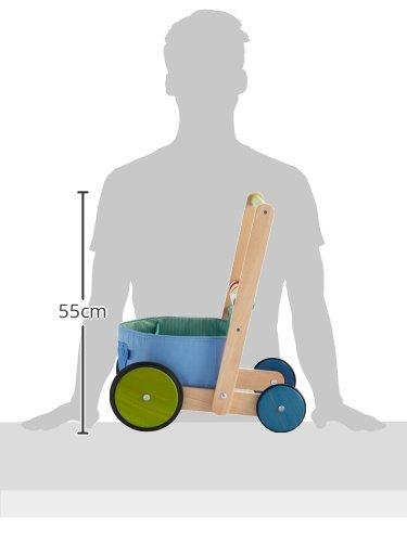 HABA 6432 - Lauflernwagen Farbenspaß, Lauflernhilfe aus Holz und Textil mit bunten Spielelementen, Transportfach für Spielsachen, Bremse und Gummirädern, ab 10 Monaten - 5