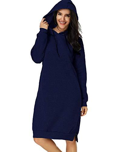 Eshal Damen Hoodies Jumper Warme Strickjacke Lange Tops Mantel Pullover Sweatshirt Lose Lässige Maxi Kleid (Large, Navy blau) - Licht Blau Für Frauen Maxi-kleider