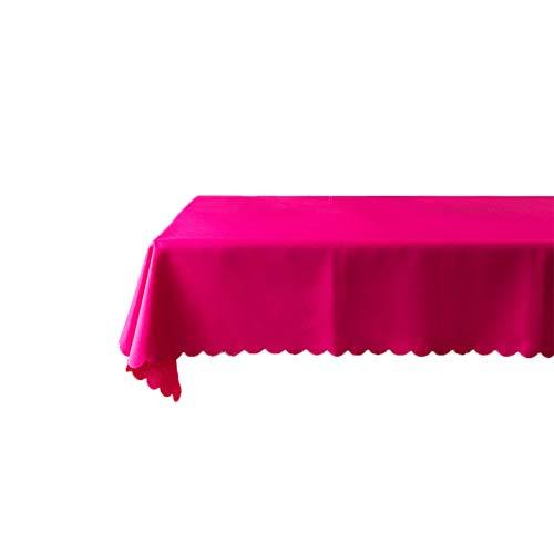Leisial Nappe Lavable Facile Entretien en Polyester Nappe Couleur Uni Rectangulaire pour Décoration de la Maison(Rouge Rose)