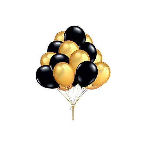 30pcs/Lot 2.2g 10inch Pearl Gold Silver Black Latex Balloons Birthday Wedding Party Decor Air Helium Kids Gifts Supplies,Black Gold,1.5g 10inch