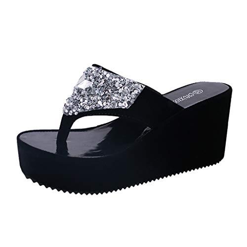 BaZhaHei Sommer Frauen Hausschuhe Strass Wedges Flip Flops Fashion Clip Toe Beach Schuh Keilabsatz Sommerschuhe Plateau Wedge Schuhe Peep Toe Elegant Flip-Flops -