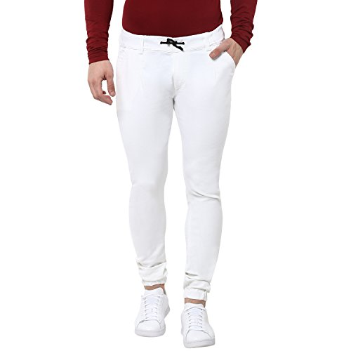 Urbano Fashion Men's White Slim Fit Stretchable Jogger Jeans