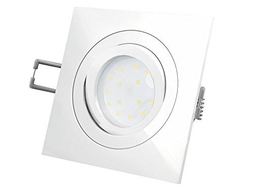 LED-Einbaustrahler Ultra flach (30mm) QF-2 eckig weiß lackiert schwenkbar mit 5W LED Modul...