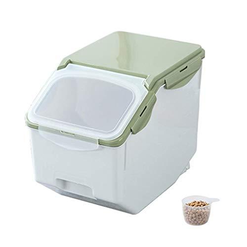 WJMLS Trockenfutterbehälter Große Lagerung Getreide Haustier Hund Katze Dispenser Aufbewahrungsbox Küchenschrank Organisatoren (Color : Green) -