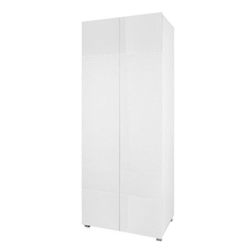 Kleiderschrank Drehtürenschrank Gordia G SZ2D mit Kleiderstange, Grifflosem Öffnen, Modernes Schrank für Wohnzimmer (Weiß/Weiß Matt + Weiß Hochglanz)