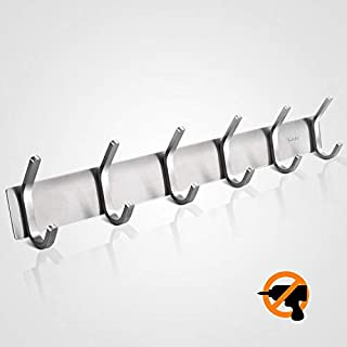 Self Adhesive Coat Hooks Rack, Wall Mount Stainless Steel Towel Hook With 6 Hooks, Max 30kg,  Wall Hooks for Bathroom Kitchen Bedroom Closet Cabinet Kitchen Office - Brushed Finish