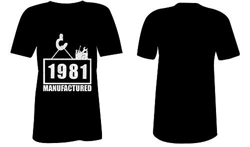 Manufactured 1981 - V-Neck T-Shirt Frauen-Damen - hochwertig bedruckt mit lustigem Spruch - Die perfekte Geschenk-Idee (01) schwarz