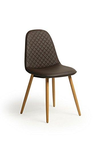 Lot-de-2-Retro-Chaise-design-scandinave-tendance-nordique-Faux-Salon-cuir-salle--manger-Chaise-de-bureau-solides-Jambes-Beechwood-marron