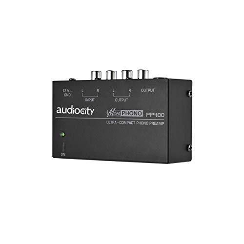Audiocity PP400 - Preamplificador previo de Phono. Salida auriculares. Fuente alimentación clavija española. Entradas y salidas RCA. Conecta tocadiscos a amplificador, altavoces activos o auriculares.