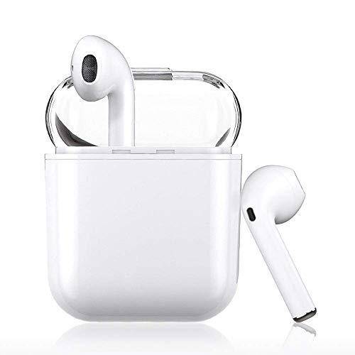 Luvfun Écouteurs Bluetooth 5.0, Oreillette Intra-Auriculaires sans Fil Bluetooth Headset Sport Stéréo pour Samsung, Tous Les appareils Bluetooth iOS, Smartphone Android - Blanc