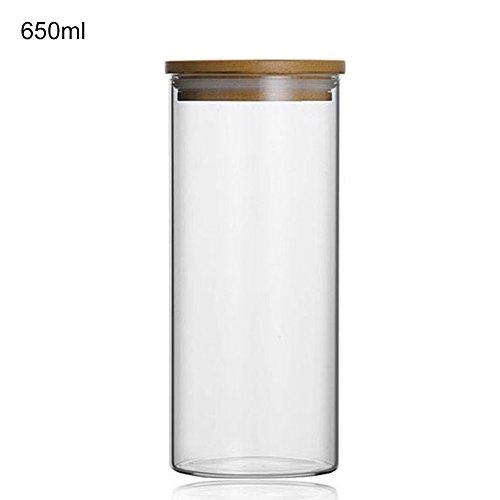 Klarglas Vorratsdose Küche Kanister Tee Kaffee Kanister Mehl Müsli Zucker Container Cookies Jar, 650 ml