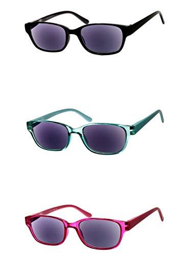Lesebrille getönt als Sonnenbrille in Rot Mintgrün Schwarz leicht rechteckig eckig sehr modern schmal flach aus Kunststoff langer Bügel robust xl, Dioptrien:Dioptrien 2.0, Farbe:Grün