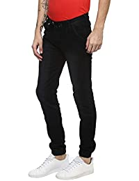 Urbano Fashion Men's Black Slim Fit Jogger Jeans Stretchable