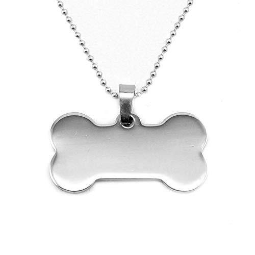 Pet Tags Hundeknochen-Anhänger für Hundemarke, blanko, hochglanzpolierter Edelstahl, 10 Stück Einheitsgröße 34x19with50cm (Manschette Mondstein Armband)